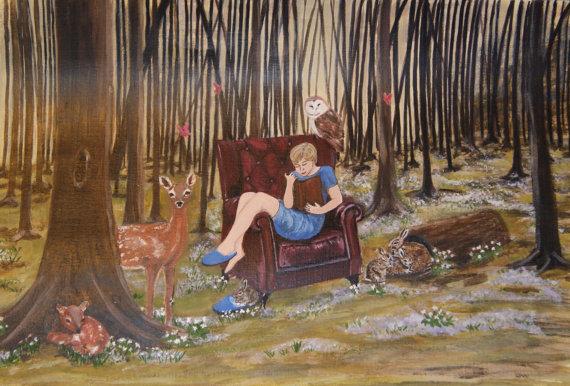 girl woods reading